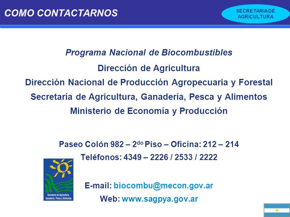 SECRETARIA DE AGRICULTURA COMO CONTACTARNOS Programa Nacional de Biocombustibles Dirección de Agricultura Dirección Nacional de Producción Agropecuari