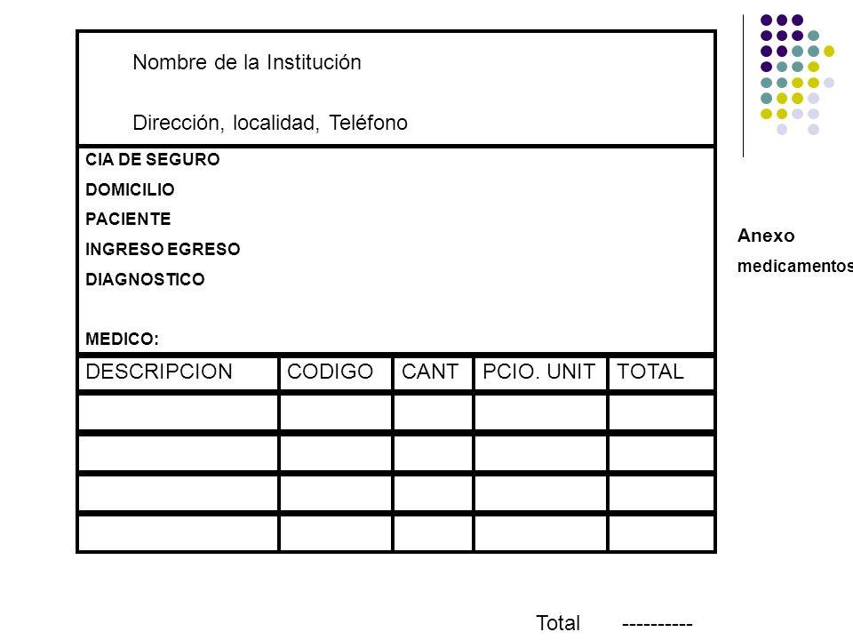 Nombre de la Institución Dirección, localidad, Teléfono CIA DE SEGURO DOMICILIO PACIENTE INGRESO EGRESO DIAGNOSTICO MEDICO: DESCRIPCIONCODIGOCANTPCIO.
