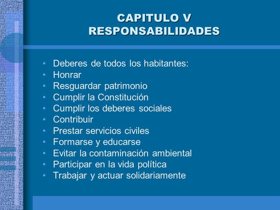 CAPITULO V RESPONSABILIDADES Deberes de todos los habitantes: Honrar Resguardar patrimonio Cumplir la Constitución Cumplir los deberes sociales Contri