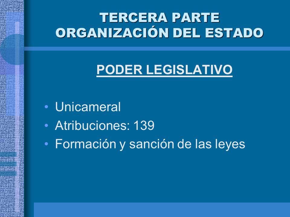 TERCERA PARTE ORGANIZACIÓN DEL ESTADO PODER LEGISLATIVO Unicameral Atribuciones: 139 Formación y sanción de las leyes