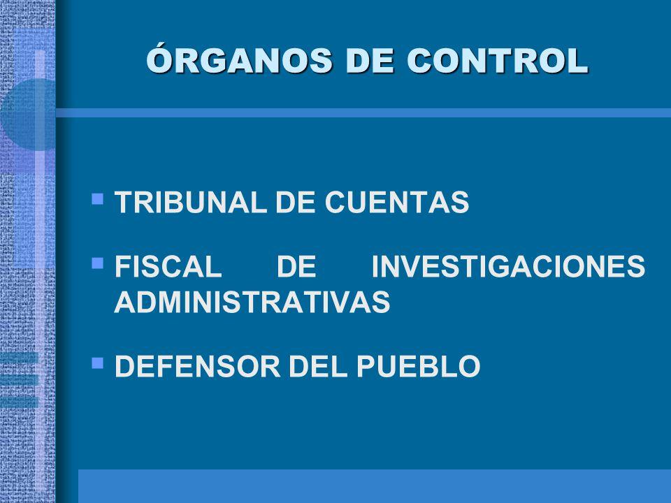ÓRGANOS DE CONTROL TRIBUNAL DE CUENTAS FISCAL DE INVESTIGACIONES ADMINISTRATIVAS DEFENSOR DEL PUEBLO