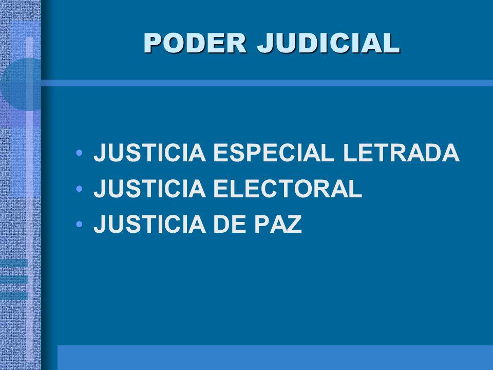 PODER JUDICIAL JUSTICIA ESPECIAL LETRADA JUSTICIA ELECTORAL JUSTICIA DE PAZ