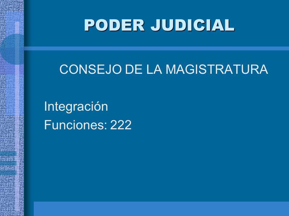 PODER JUDICIAL CONSEJO DE LA MAGISTRATURA Integración Funciones: 222