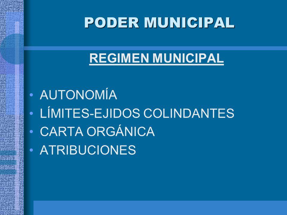 PODER MUNICIPAL REGIMEN MUNICIPAL AUTONOMÍA LÍMITES-EJIDOS COLINDANTES CARTA ORGÁNICA ATRIBUCIONES