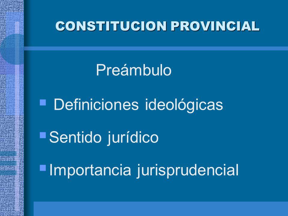 CONSTITUCION PROVINCIAL Preámbulo Definiciones ideológicas Sentido jurídico Importancia jurisprudencial