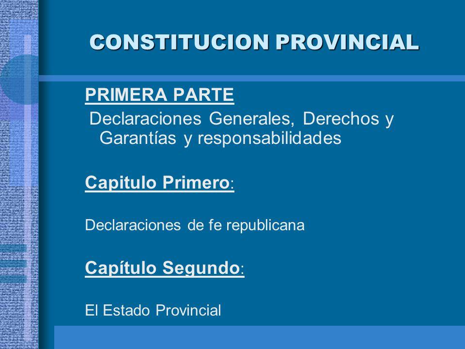 CONSTITUCION PROVINCIAL PRIMERA PARTE Declaraciones Generales, Derechos y Garantías y responsabilidades Capitulo Primero : Declaraciones de fe republi
