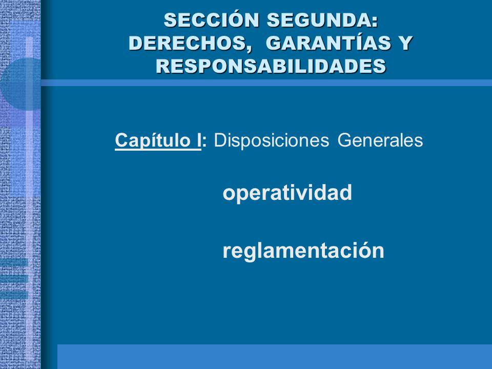 SECCIÓN SEGUNDA: DERECHOS, GARANTÍAS Y RESPONSABILIDADES Capítulo I: Disposiciones Generales operatividad reglamentación