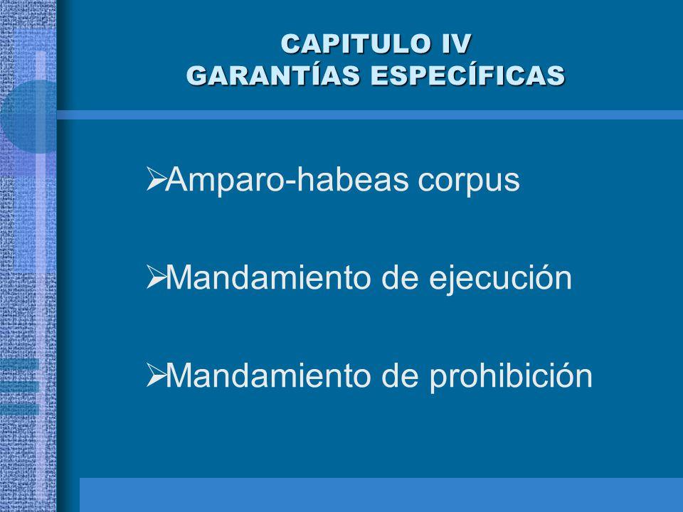 CAPITULO IV GARANTÍAS ESPECÍFICAS Amparo-habeas corpus Mandamiento de ejecución Mandamiento de prohibición