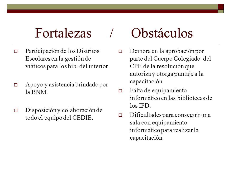 Fortalezas / Obstáculos Participación de los Distritos Escolares en la gestión de viáticos para los bib. del interior. Apoyo y asistencia brindado por