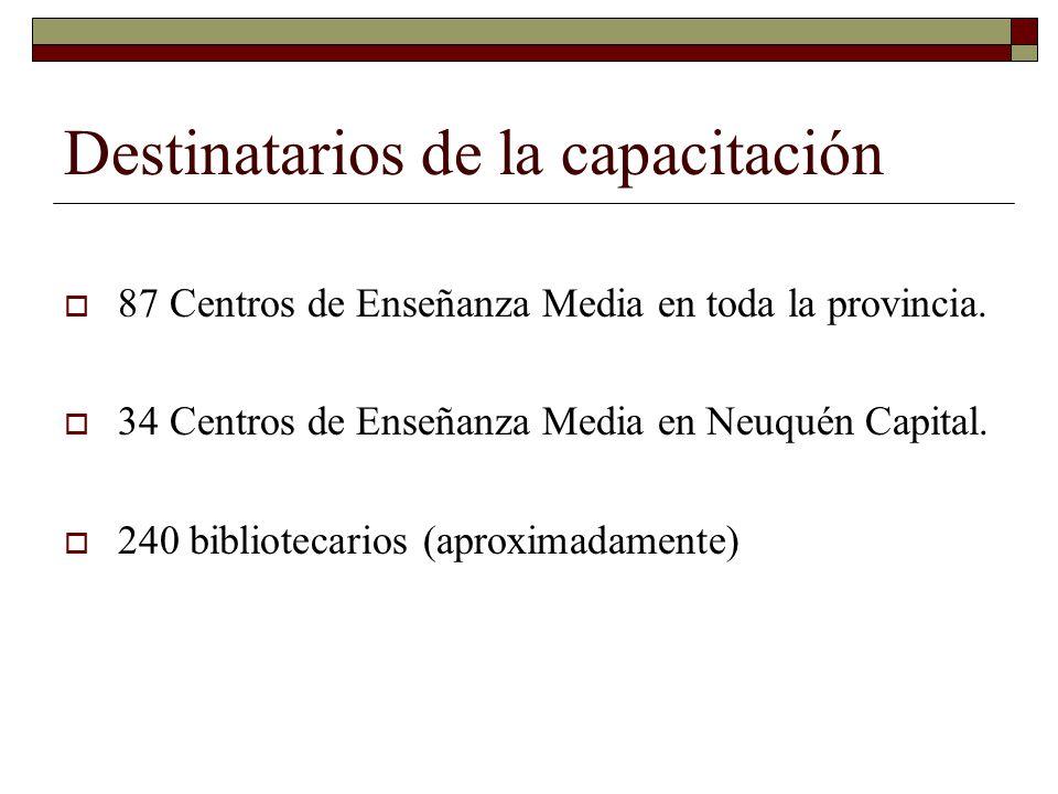 Destinatarios de la capacitación 87 Centros de Enseñanza Media en toda la provincia. 34 Centros de Enseñanza Media en Neuquén Capital. 240 bibliotecar
