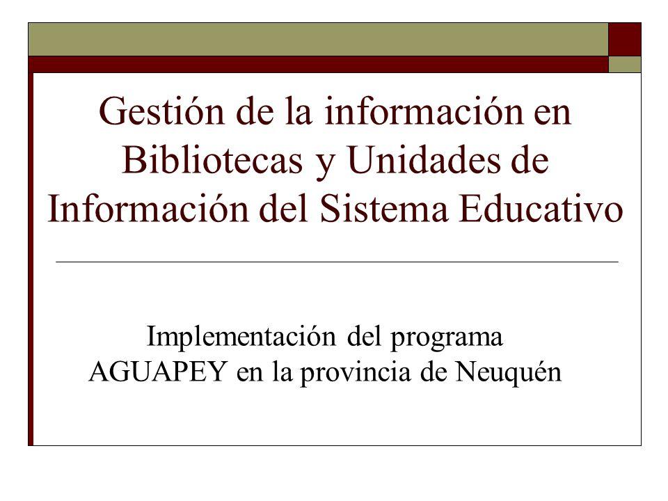 Gestión de la información en Bibliotecas y Unidades de Información del Sistema Educativo Implementación del programa AGUAPEY en la provincia de Neuqué