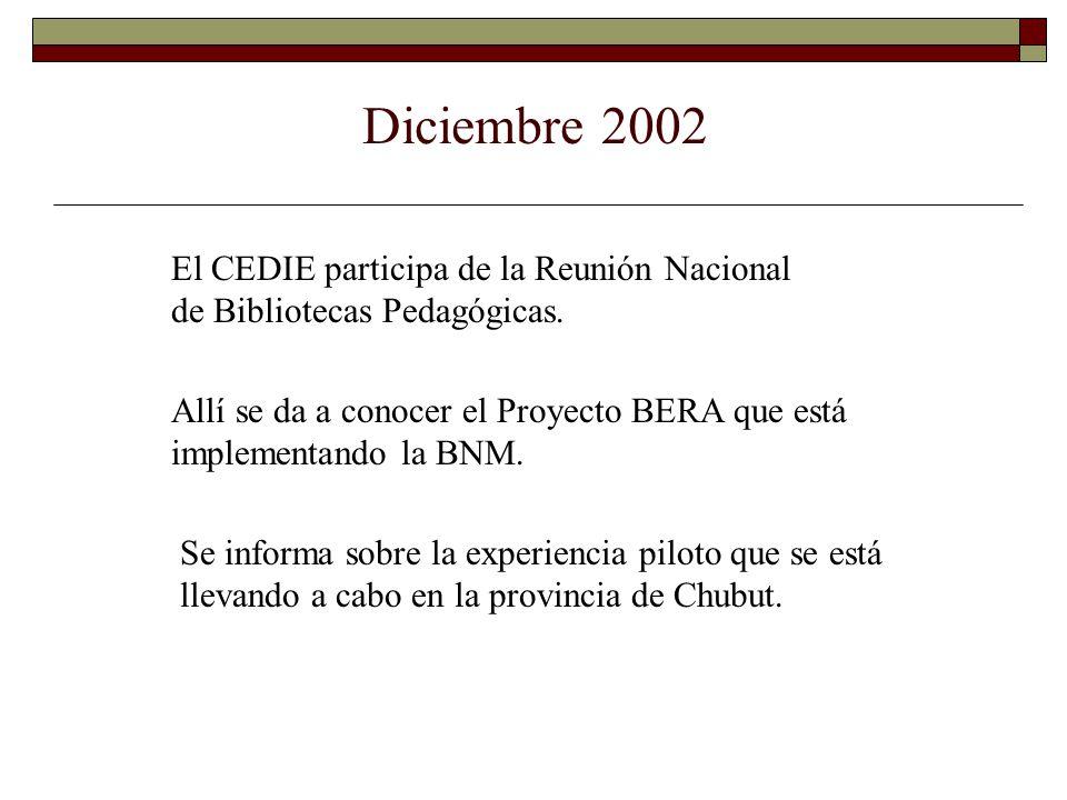 Diciembre 2002 Allí se da a conocer el Proyecto BERA que está implementando la BNM. Se informa sobre la experiencia piloto que se está llevando a cabo