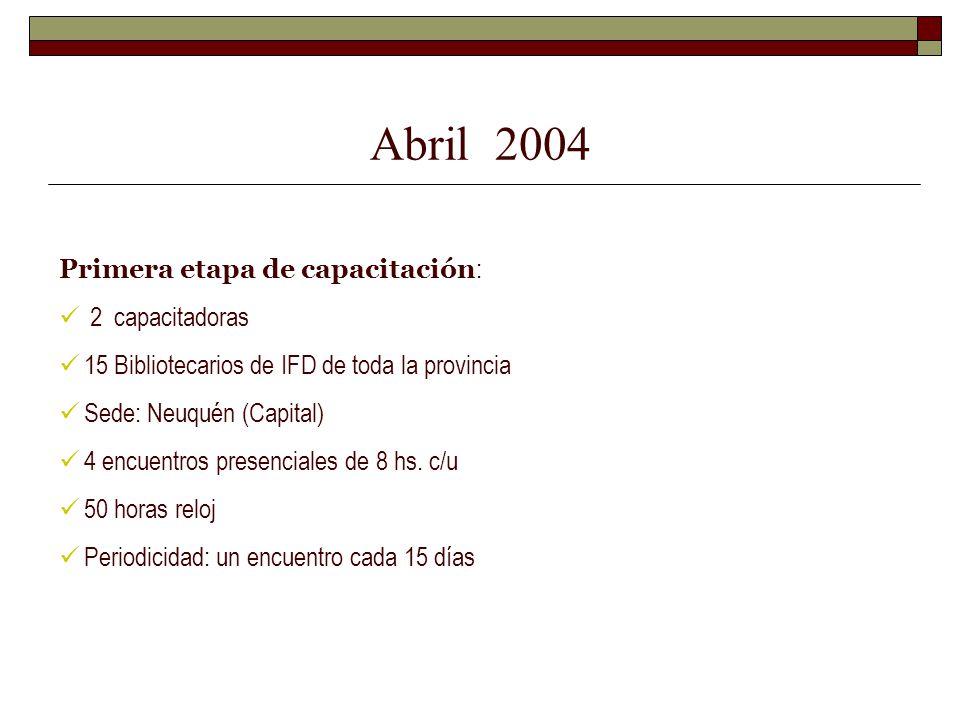 Abril 2004 Primera etapa de capacitación : 2 capacitadoras 15 Bibliotecarios de IFD de toda la provincia Sede: Neuquén (Capital) 4 encuentros presenci
