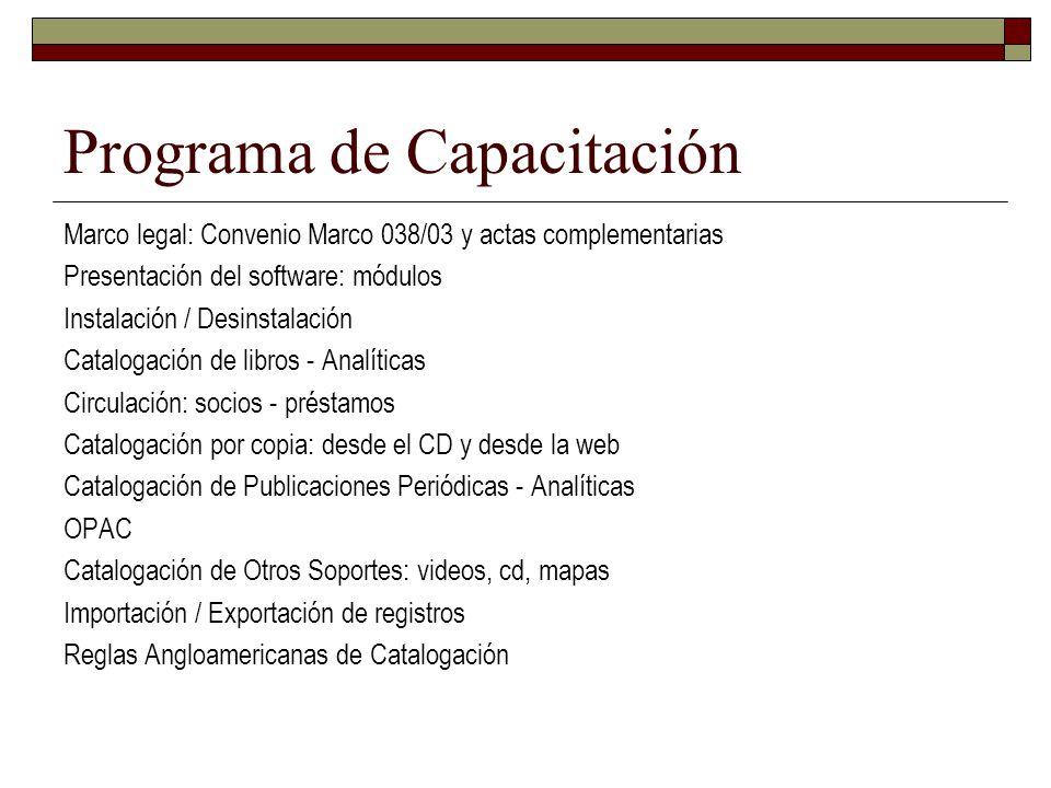 Programa de Capacitación Marco legal: Convenio Marco 038/03 y actas complementarias Presentación del software: módulos Instalación / Desinstalación Ca