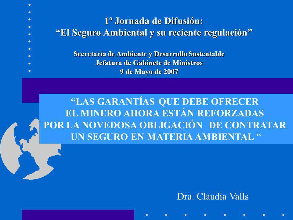 1º Jornada de Difusión: El Seguro Ambiental y su reciente regulación Secretaría de Ambiente y Desarrollo Sustentable Jefatura de Gabinete de Ministros