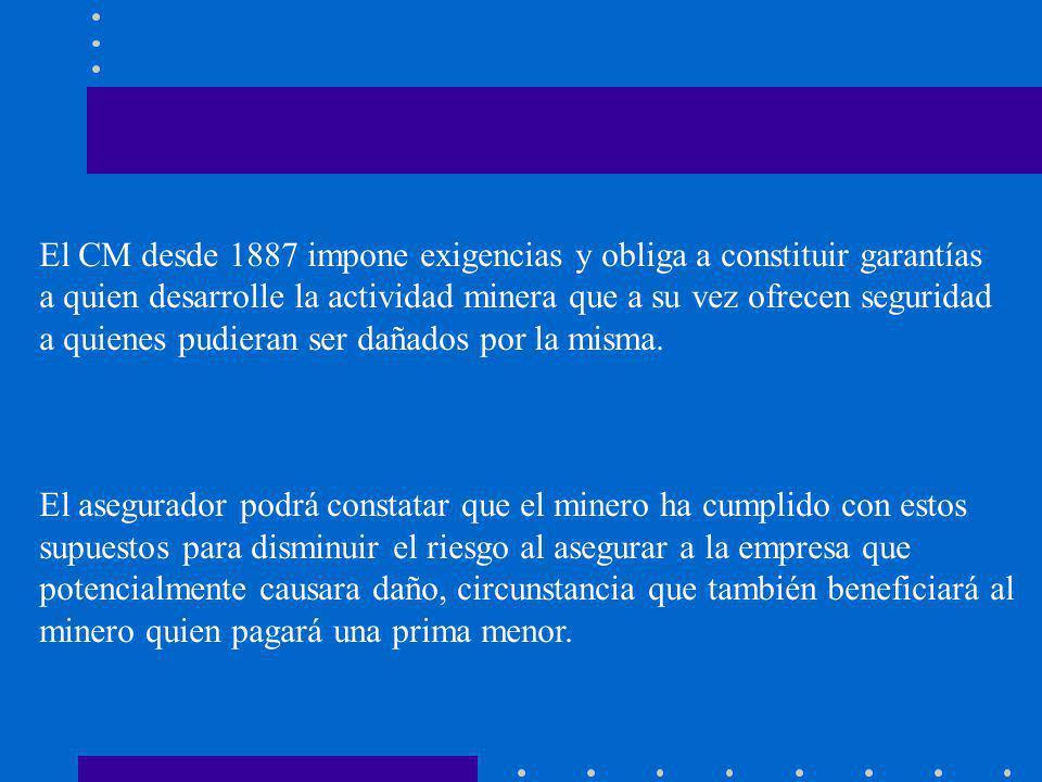 El CM desde 1887 impone exigencias y obliga a constituir garantías a quien desarrolle la actividad minera que a su vez ofrecen seguridad a quienes pudieran ser dañados por la misma.