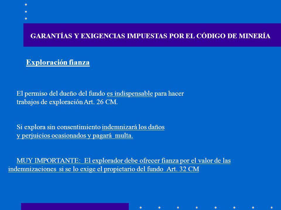 GARANTÍAS Y EXIGENCIAS IMPUESTAS POR EL CÓDIGO DE MINERÍA El permiso del dueño del fundo es indispensable para hacer trabajos de exploración Art. 26 C