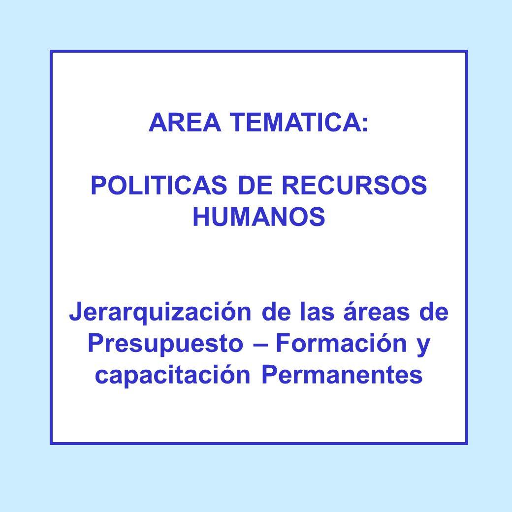 AREA TEMATICA: POLITICAS DE RECURSOS HUMANOS Jerarquización de las áreas de Presupuesto – Formación y capacitación Permanentes