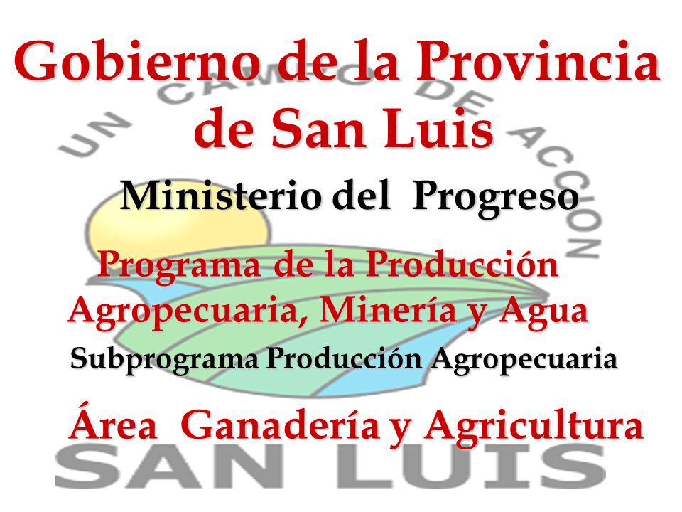 Gobierno de la Provincia de San Luis Ministerio del Progreso Programa de la Producción Agropecuaria, Minería y Agua Área Ganadería y Agricultura Subprograma Producción Agropecuaria