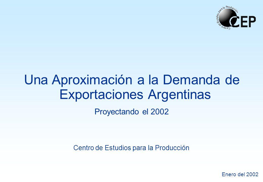 Centro de Estudios para la Producción Enero del 2002 Una Aproximación a la Demanda de Exportaciones Argentinas Proyectando el 2002