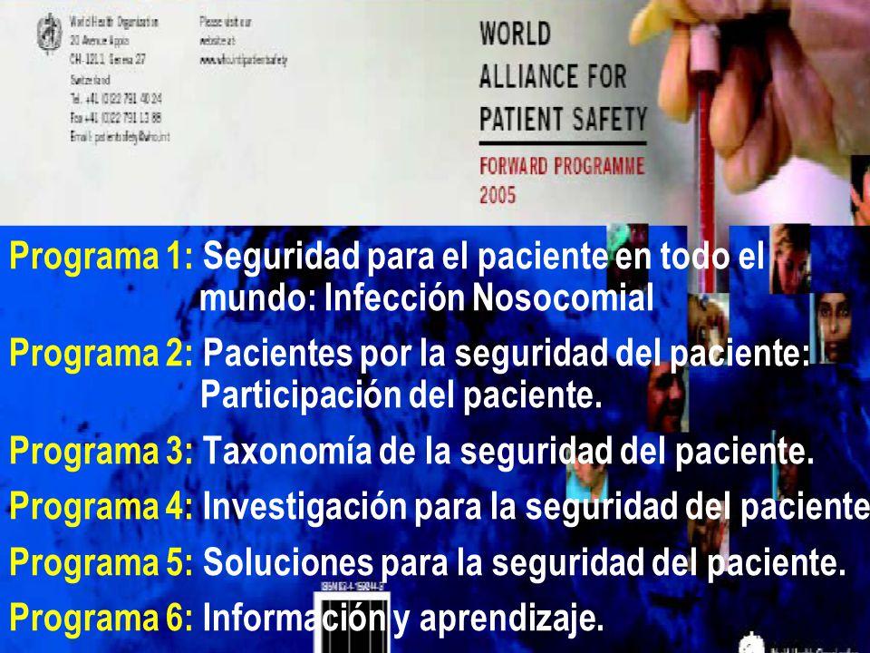 Programa 1: Seguridad para el paciente en todo el mundo: Infección Nosocomial Programa 2: Pacientes por la seguridad del paciente: Participación del p