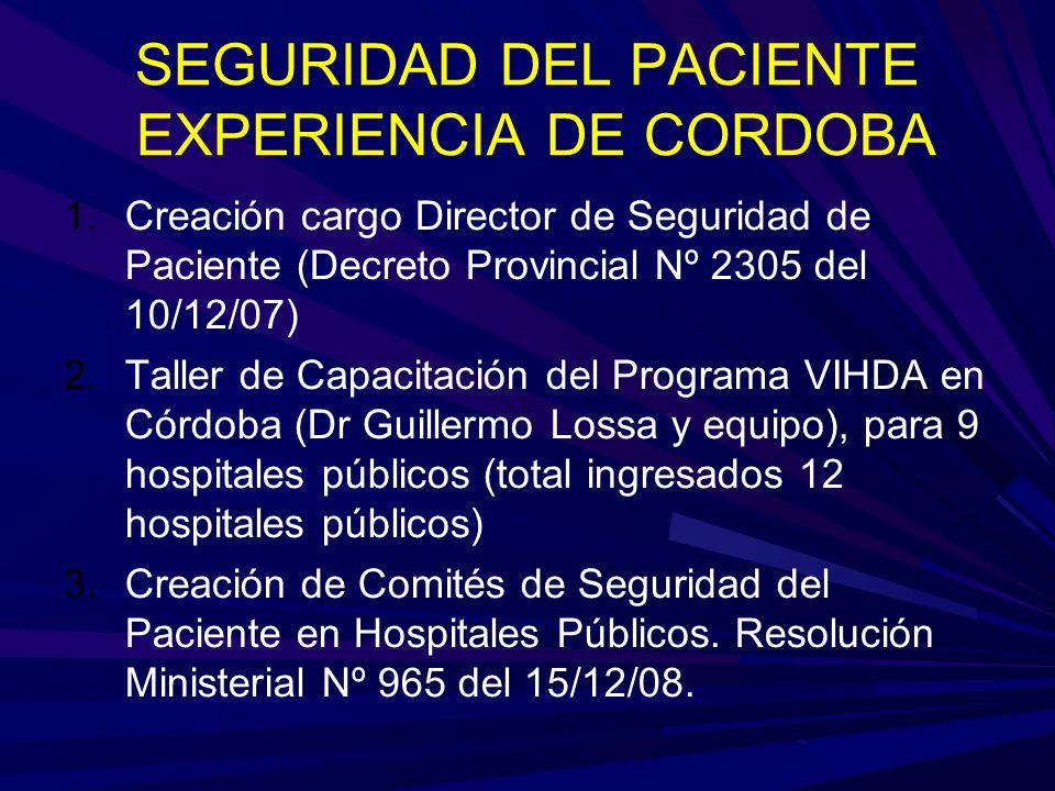 SEGURIDAD DEL PACIENTE EXPERIENCIA DE CORDOBA 1.Creación cargo Director de Seguridad de Paciente (Decreto Provincial Nº 2305 del 10/12/07) 2.Taller de