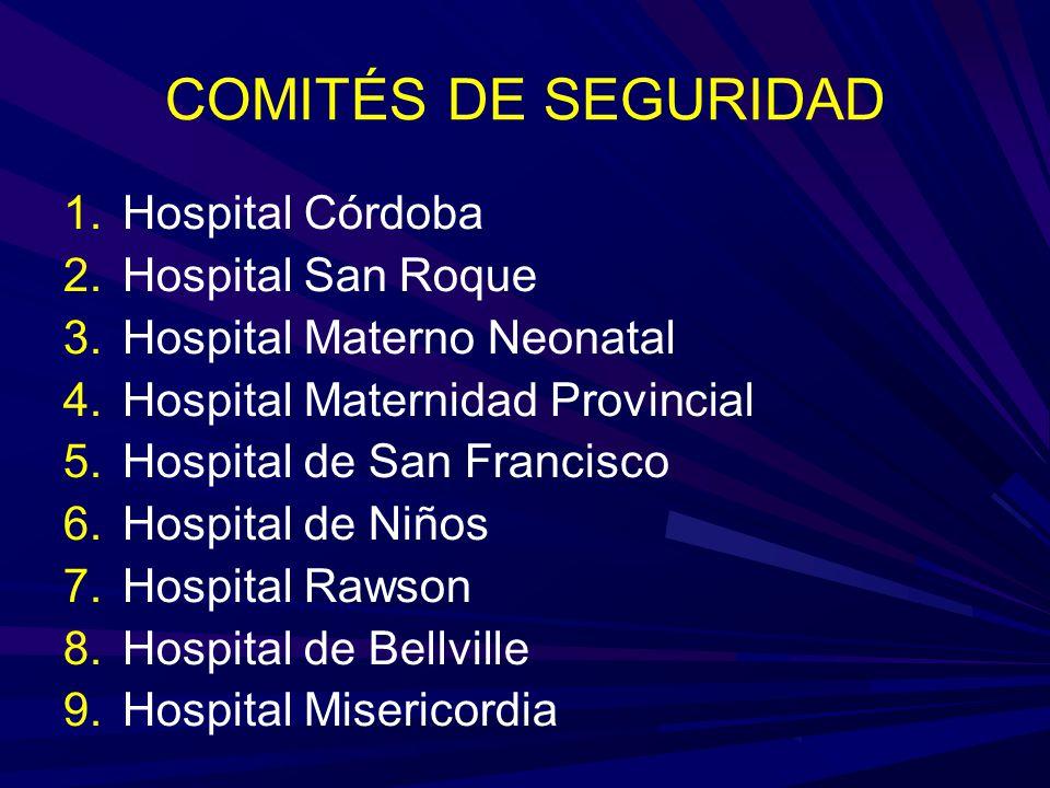 COMITÉS DE SEGURIDAD 1.Hospital Córdoba 2.Hospital San Roque 3.Hospital Materno Neonatal 4.Hospital Maternidad Provincial 5.Hospital de San Francisco