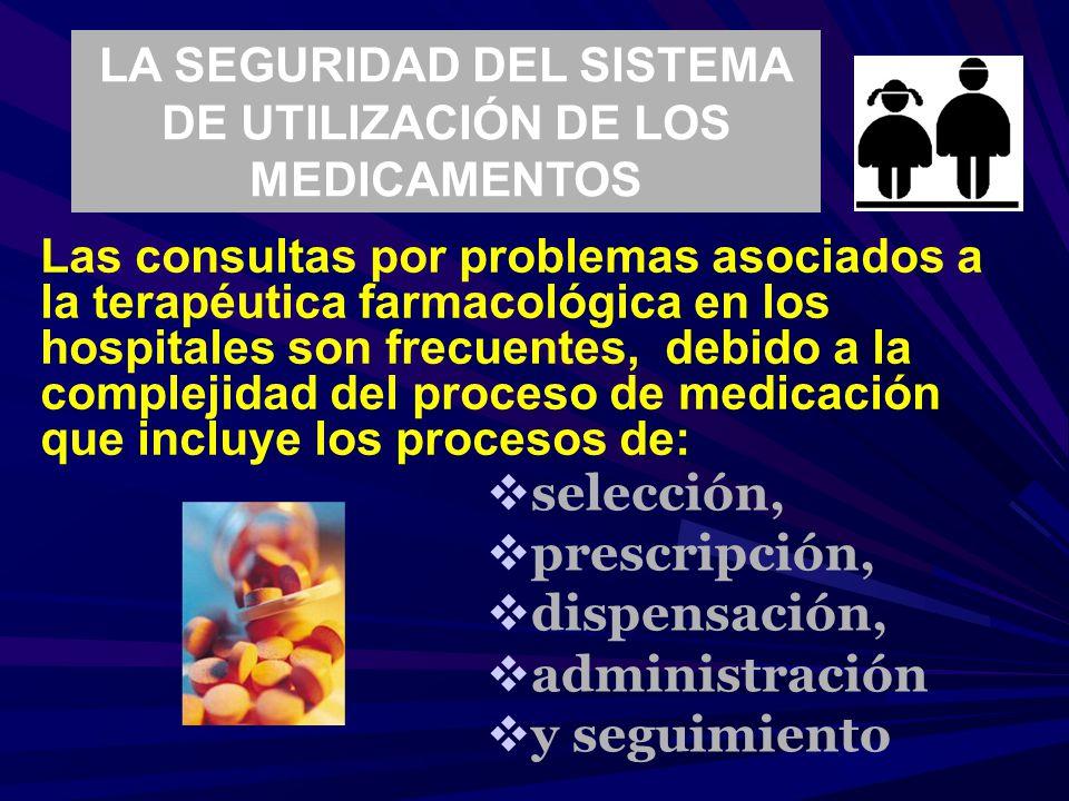 selección, prescripción, dispensación, administración y seguimiento LA SEGURIDAD DEL SISTEMA DE UTILIZACIÓN DE LOS MEDICAMENTOS Las consultas por prob