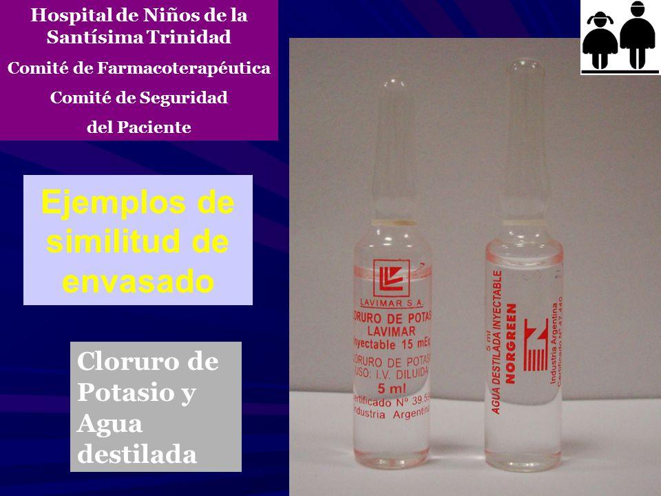 Ejemplos de similitud de envasado Cloruro de Potasio y Agua destilada Hospital de Niños de la Santísima Trinidad Comité de Farmacoterapéutica Comité d