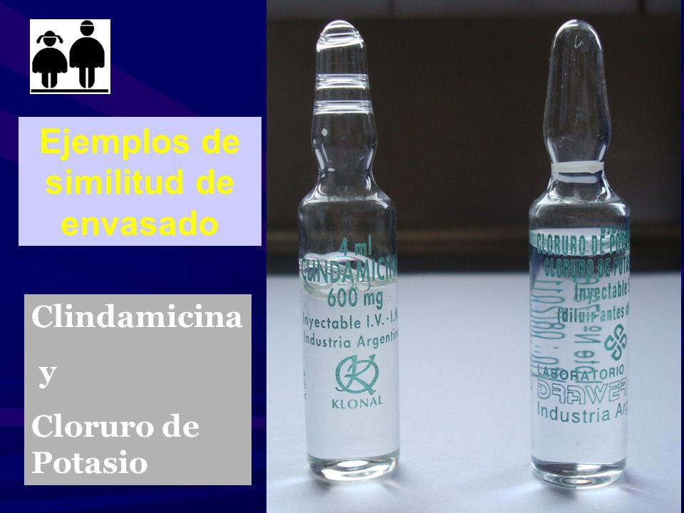 Ejemplos de similitud de envasado Clindamicina y Cloruro de Potasio