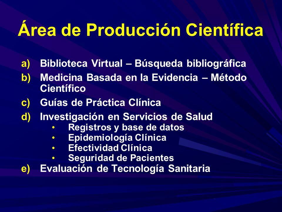 Área de Producción Científica a)Biblioteca Virtual – Búsqueda bibliográfica b)Medicina Basada en la Evidencia – Método Científico c)Guías de Práctica