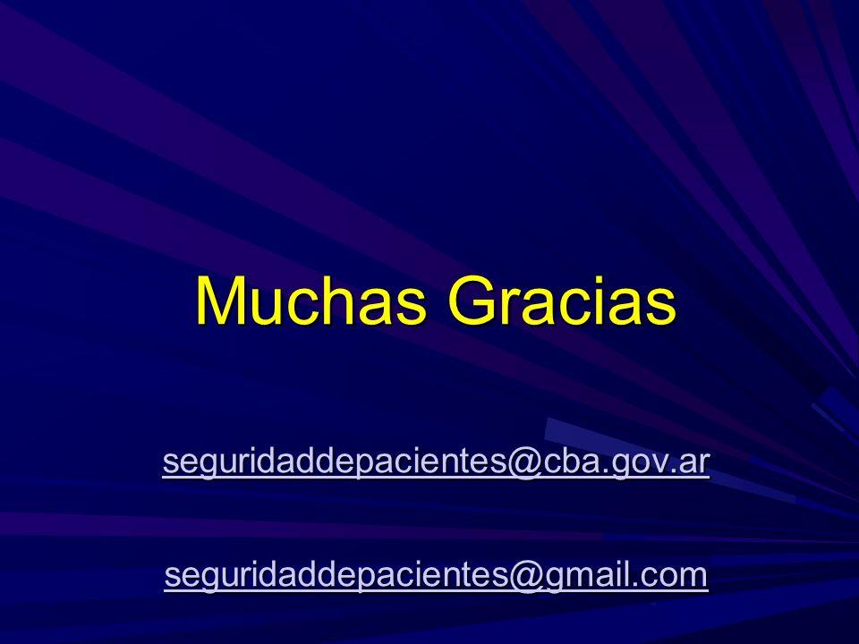 Muchas Gracias seguridaddepacientes@cba.gov.ar seguridaddepacientes@gmail.com