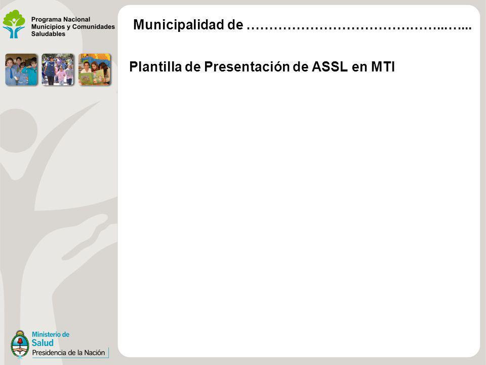 Municipalidad de ……………………………………...…... Plantilla de Presentación de ASSL en MTI