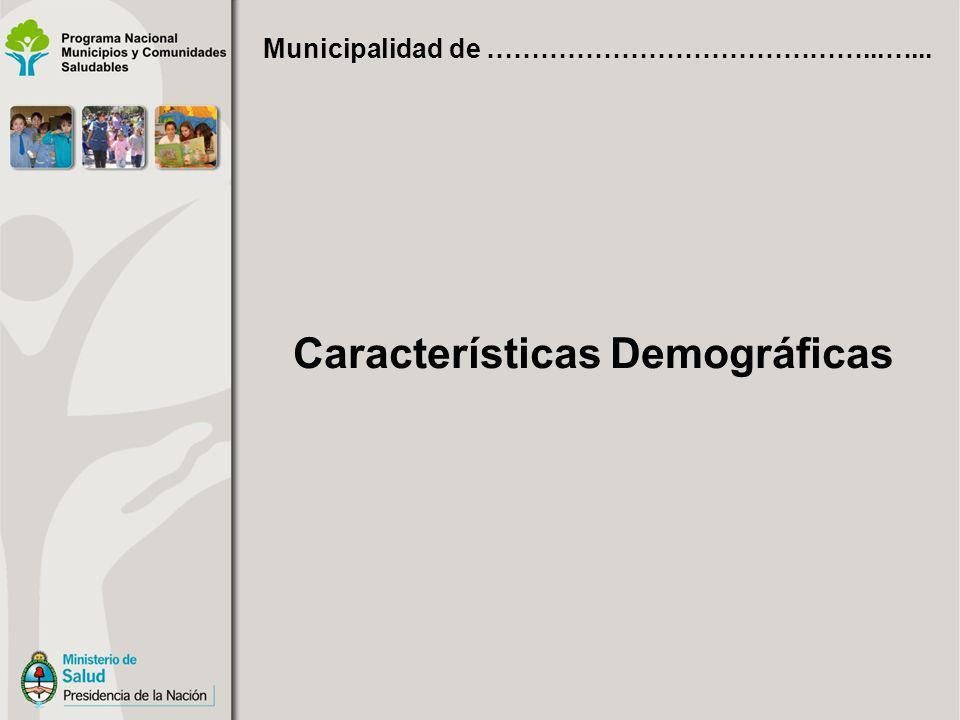 Características Demográficas Municipalidad de ……………………………………...…...