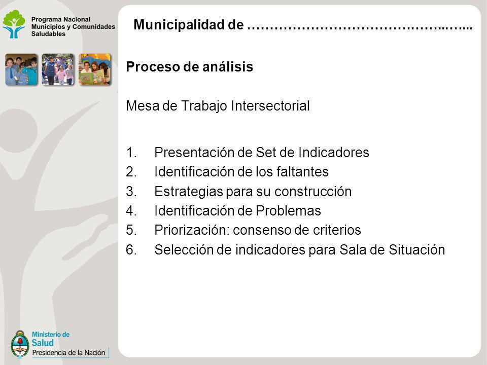 Proceso de análisis Mesa de Trabajo Intersectorial 1.Presentación de Set de Indicadores 2.Identificación de los faltantes 3.Estrategias para su constr