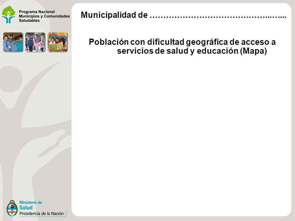 Población con dificultad geográfica de acceso a servicios de salud y educación (Mapa) Municipalidad de ……………………………………...…...
