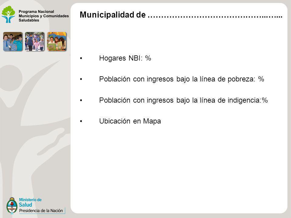 Hogares NBI: % Población con ingresos bajo la línea de pobreza: % Población con ingresos bajo la línea de indigencia:% Ubicación en Mapa Municipalidad
