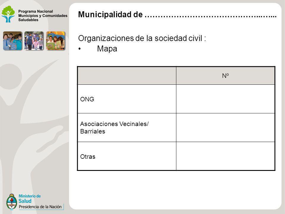 Organizaciones de la sociedad civil : Mapa Nº ONG Asociaciones Vecinales/ Barriales Otras Municipalidad de ……………………………………...…...