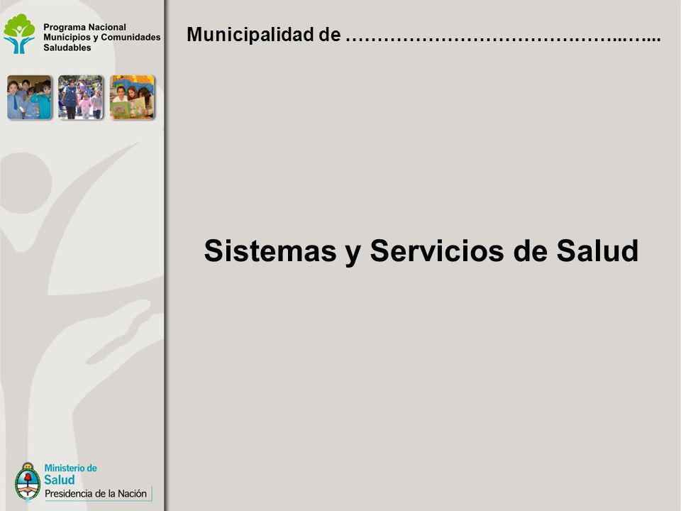 Sistemas y Servicios de Salud Municipalidad de ……………………………………...…...