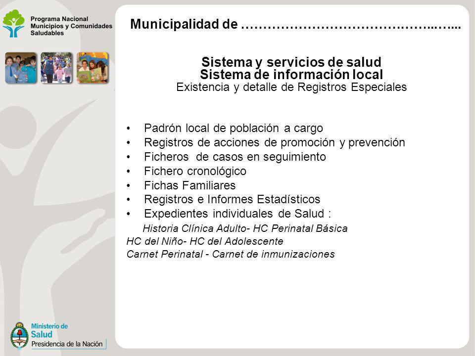 Sistema y servicios de salud Sistema de información local Existencia y detalle de Registros Especiales Padrón local de población a cargo Registros de