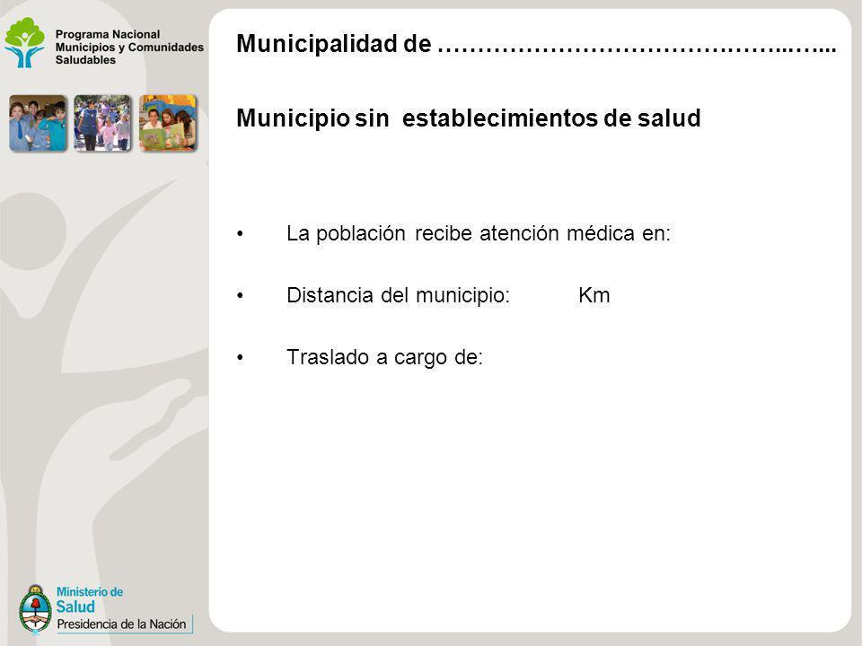 Municipio sin establecimientos de salud La población recibe atención médica en: Distancia del municipio: Km Traslado a cargo de: Municipalidad de …………
