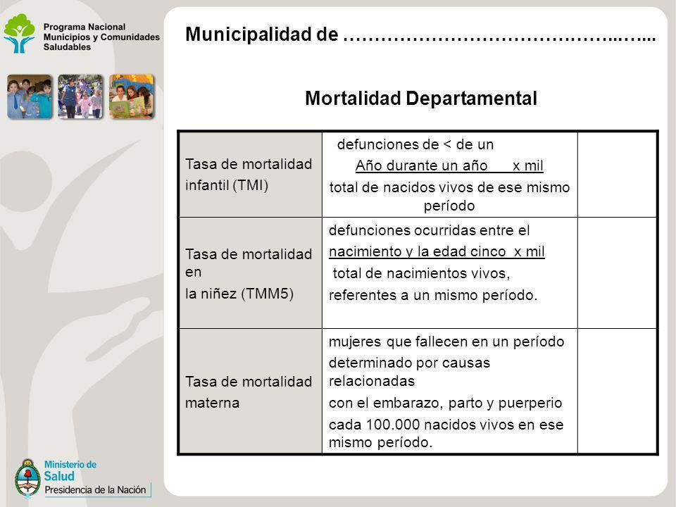 Mortalidad Departamental Tasa de mortalidad infantil (TMI) defunciones de < de un Año durante un año x mil total de nacidos vivos de ese mismo período