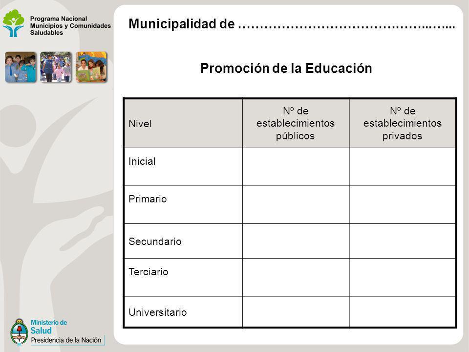 Promoción de la Educación Nivel Nº de establecimientos públicos Nº de establecimientos privados Inicial Primario Secundario Terciario Universitario Municipalidad de ……………………………………...…...