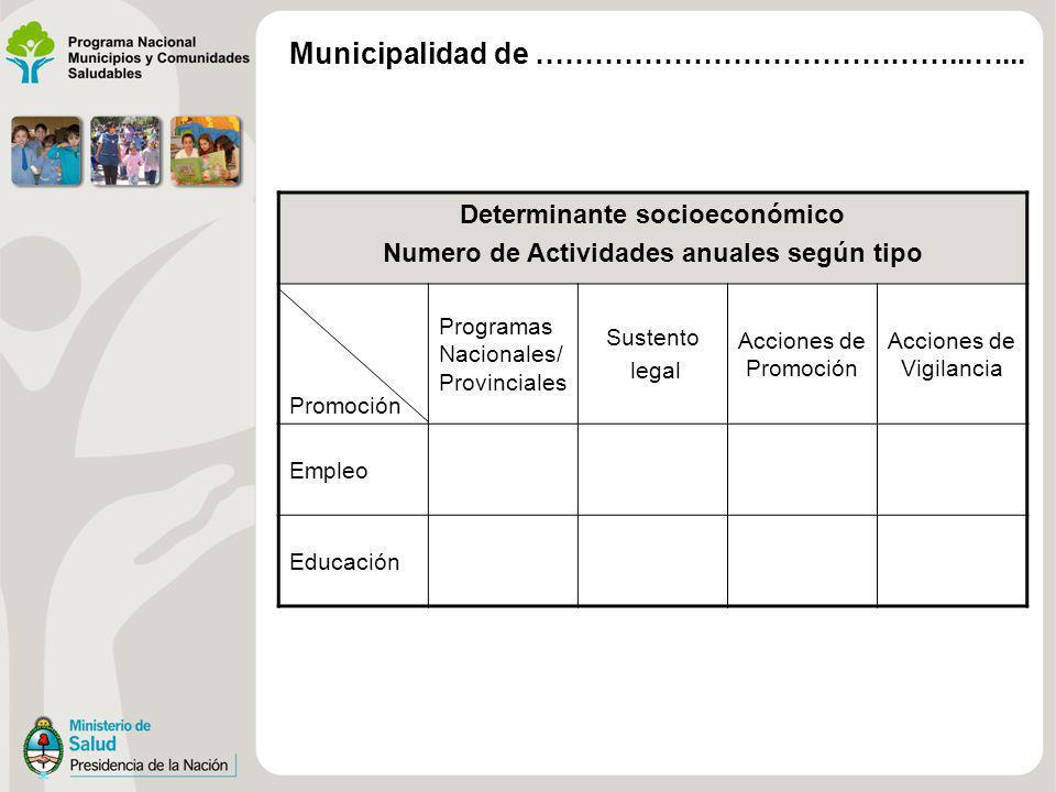 Determinante socioeconómico Numero de Actividades anuales según tipo Promoción Programas Nacionales/ Provinciales Sustento legal Acciones de Promoción