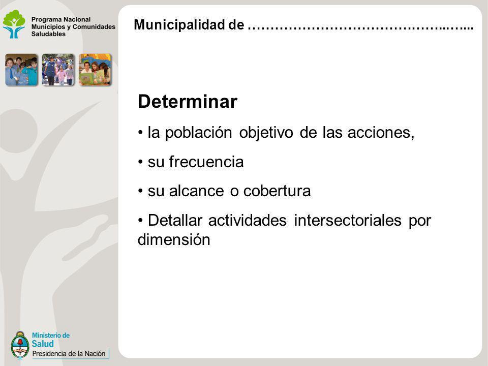 Determinar la población objetivo de las acciones, su frecuencia su alcance o cobertura Detallar actividades intersectoriales por dimensión Municipalid