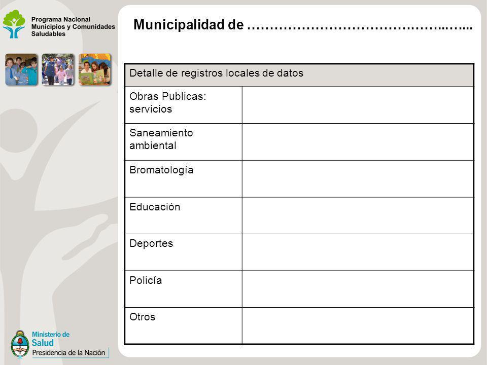 Detalle de registros locales de datos Obras Publicas: servicios Saneamiento ambiental Bromatología Educación Deportes Policía Otros Municipalidad de …