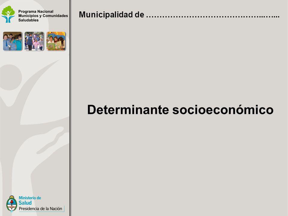 Determinante socioeconómico Municipalidad de ……………………………………...…...