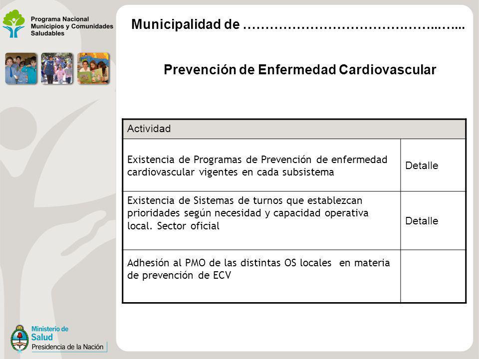 Prevención de Enfermedad Cardiovascular Actividad Existencia de Programas de Prevención de enfermedad cardiovascular vigentes en cada subsistema Detalle Existencia de Sistemas de turnos que establezcan prioridades según necesidad y capacidad operativa local.