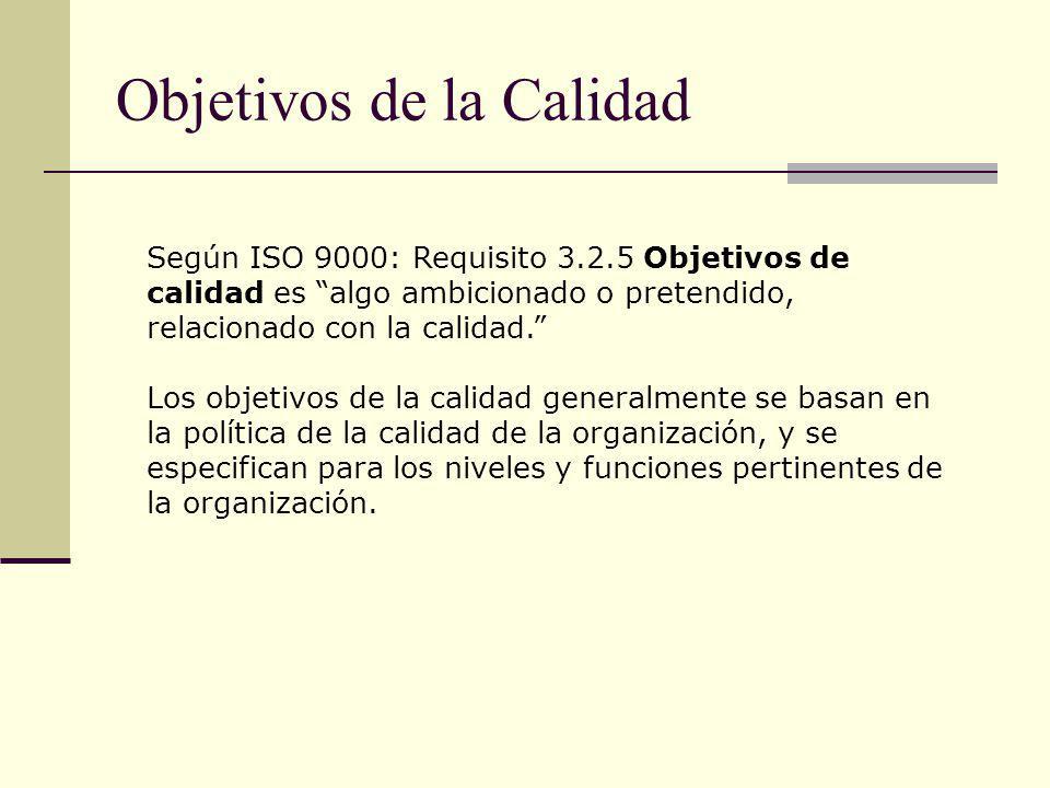 Objetivos de la Calidad Según ISO 9000: Requisito 3.2.5 Objetivos de calidad es algo ambicionado o pretendido, relacionado con la calidad. Los objetiv