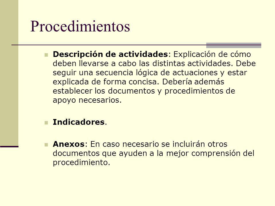 Procedimientos Descripción de actividades: Explicación de cómo deben llevarse a cabo las distintas actividades. Debe seguir una secuencia lógica de ac